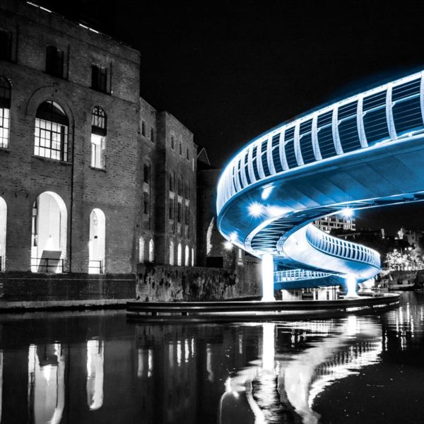 Long exposure shot of Finzels Reach Bridge in Bristol
