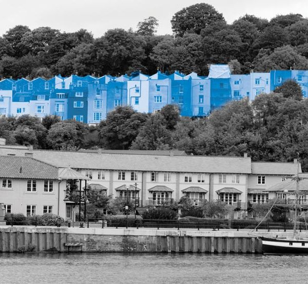 Colourful houses at Bristol docks